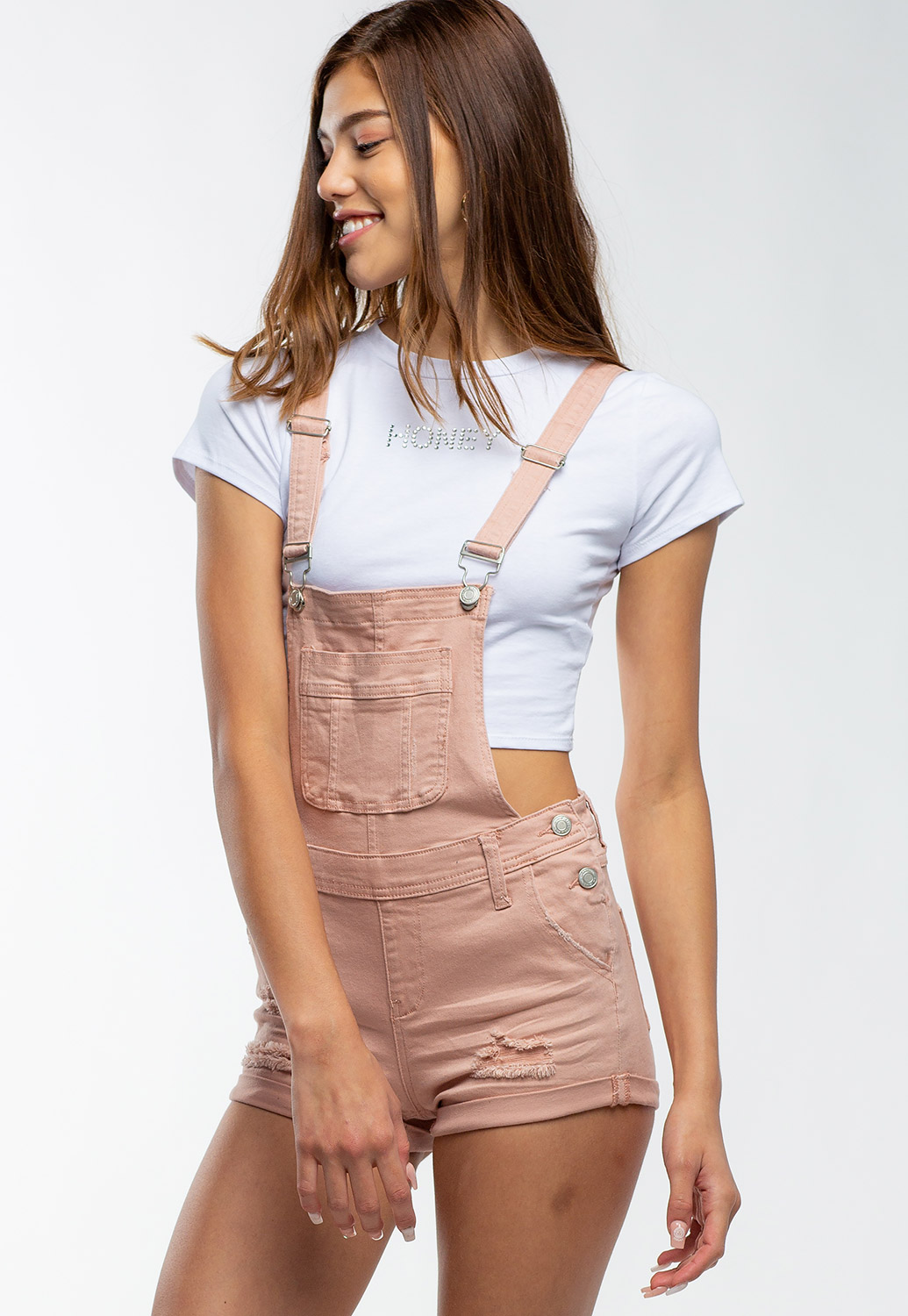 Front Pocket Distressed Denim Overalls