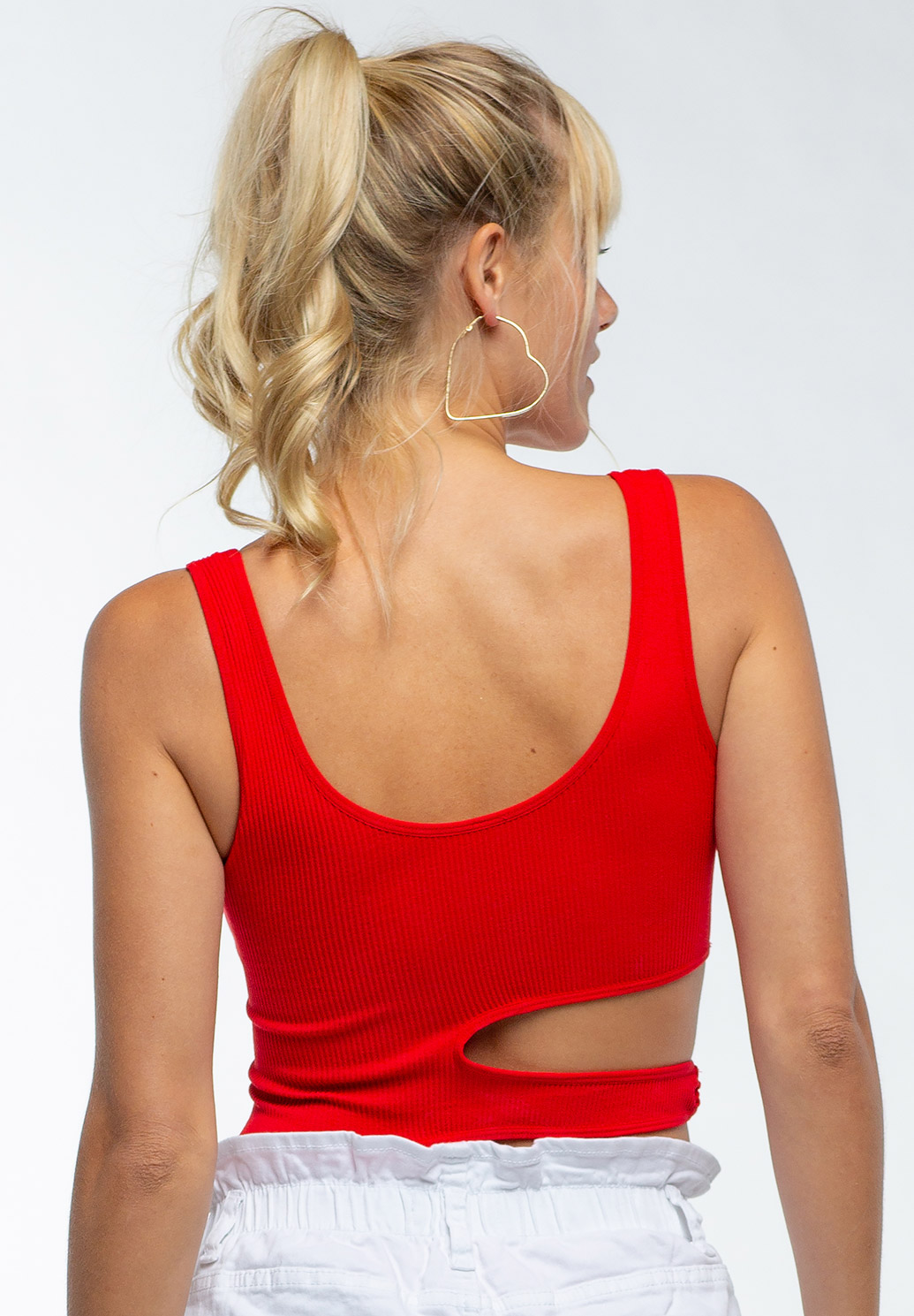 Side Cut-Out Deep Round Neck Bodysuit