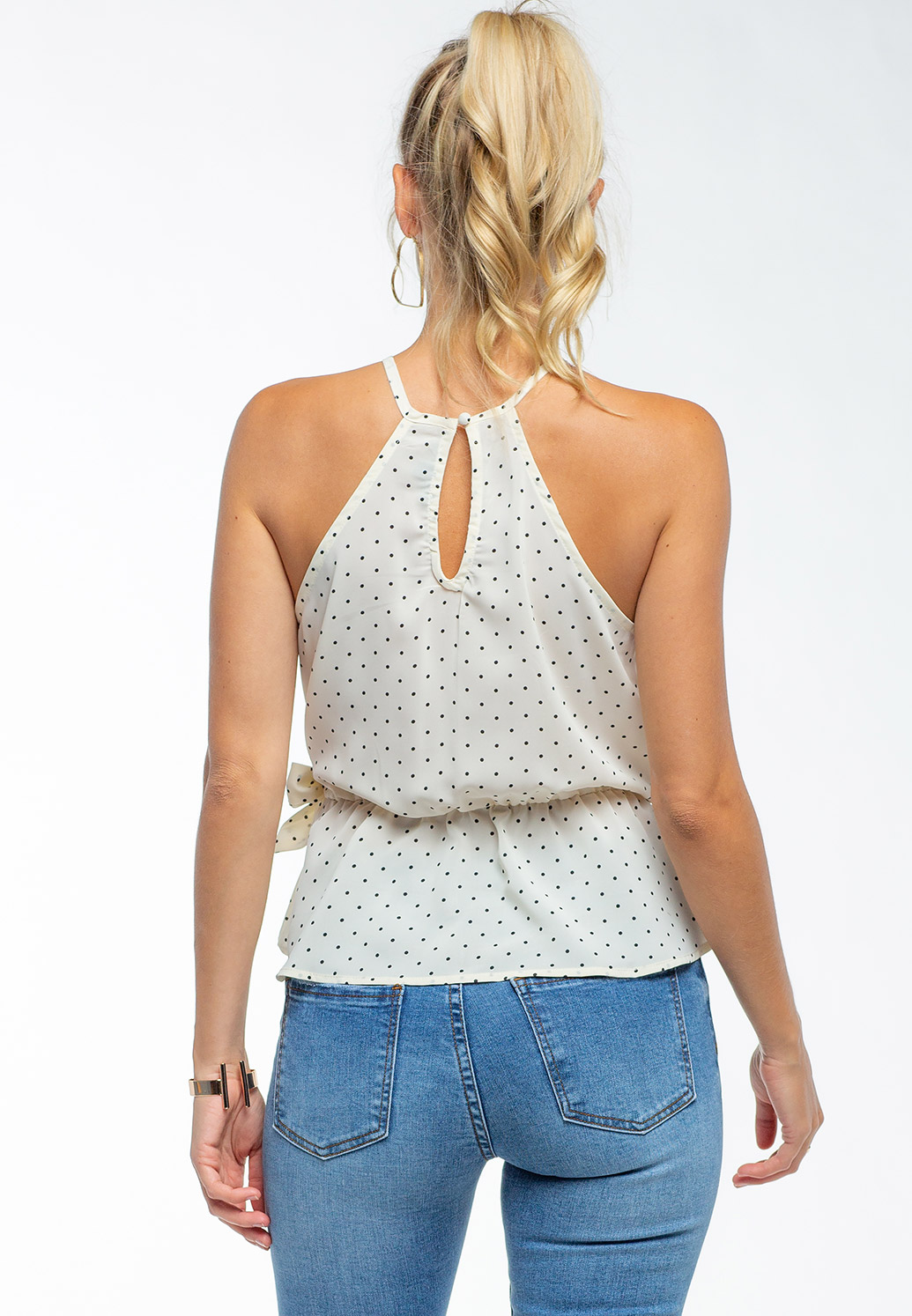 Key Hole Detailed Floral Sleeveless Blouse With Side Tie