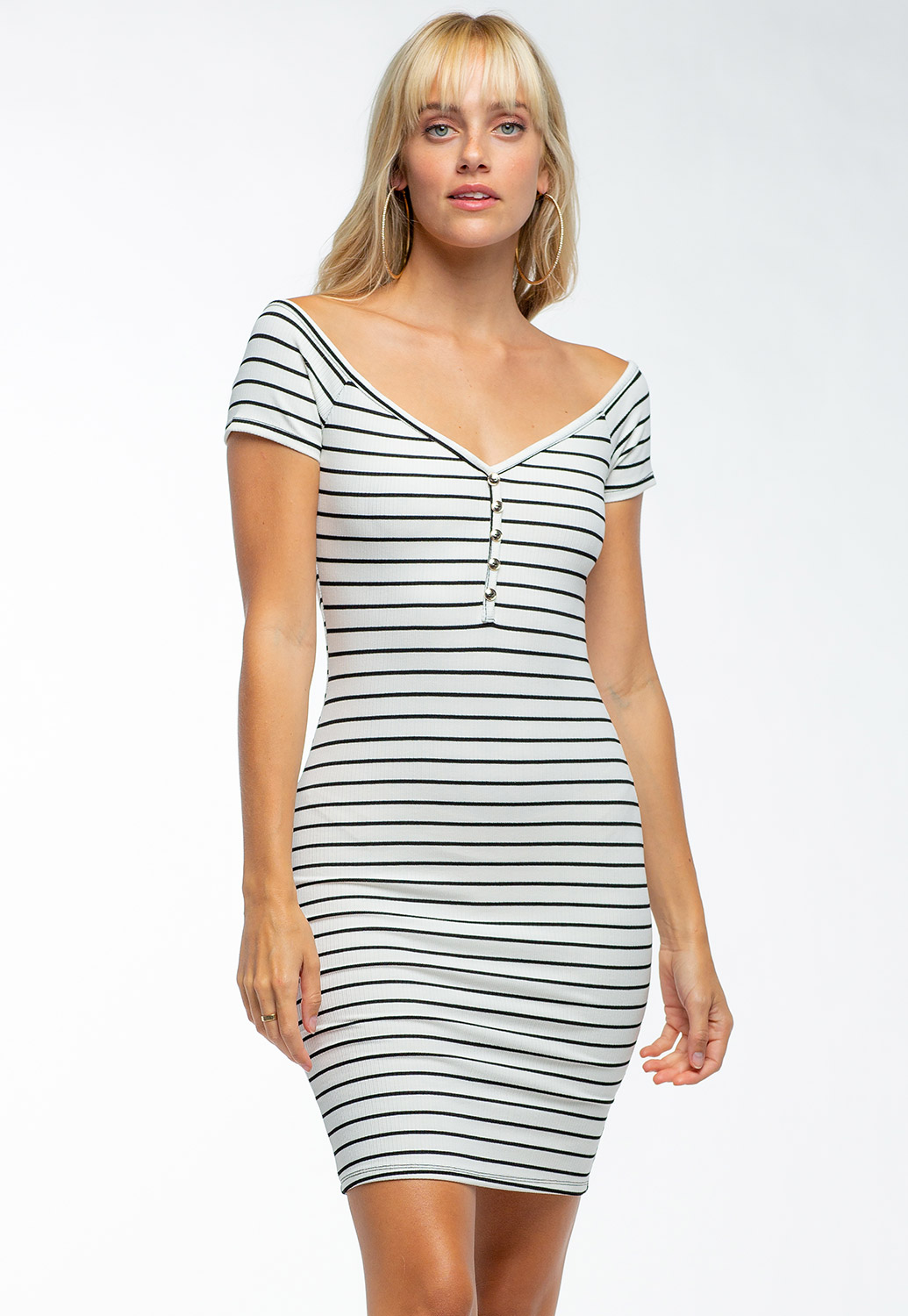 Striped Off The Shoulder Mini Dress With Buttons