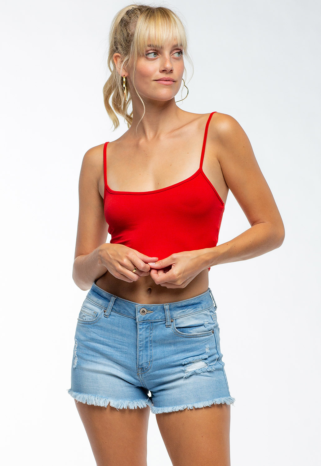 Basic Strappy Crop Tank Top