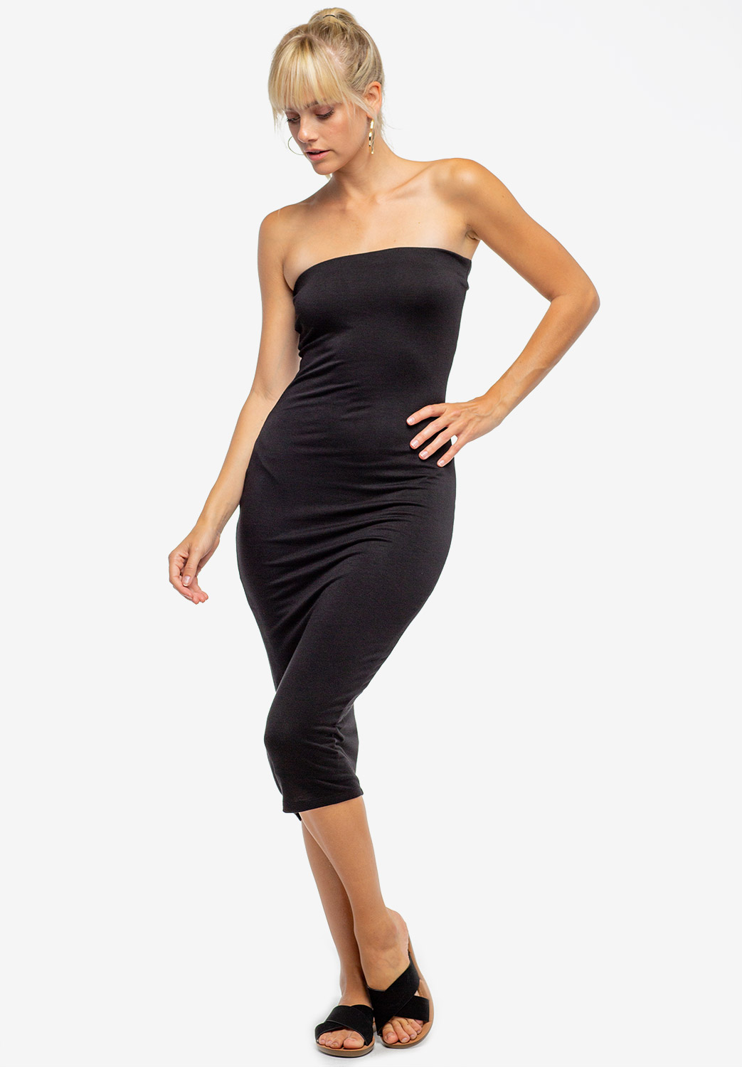 Basic Strapless Bodycon Midi Dress