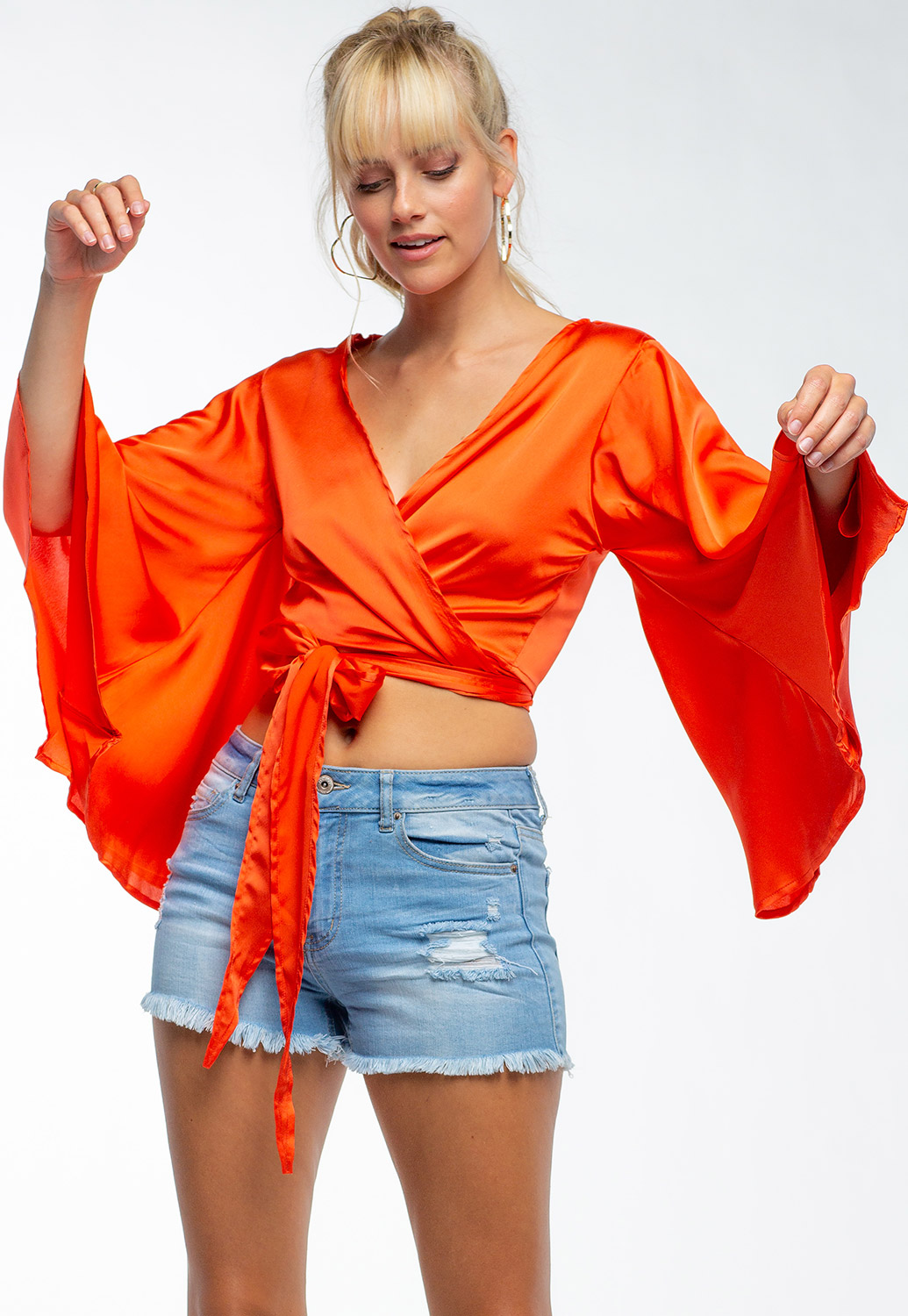 Kimono Inspired Flare Sleeve Top With Ribbon Wrap