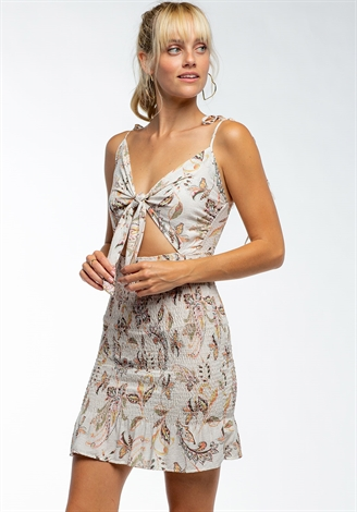 Front Tie Sleeveless Floral Mini Dress