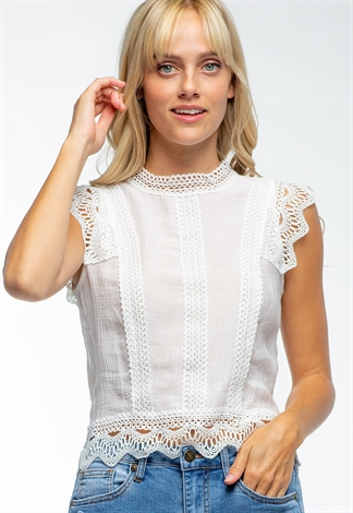 Floral Laced High-Neck Sleeveless Blouse