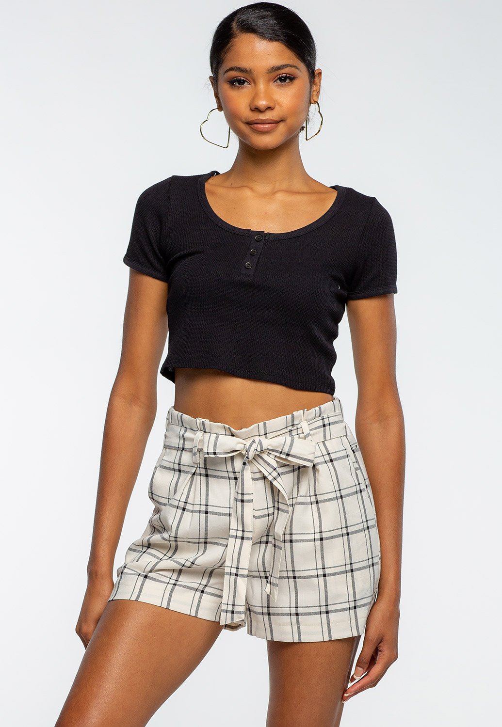 Front Tie Plaid Printed Paper Bag Shorts