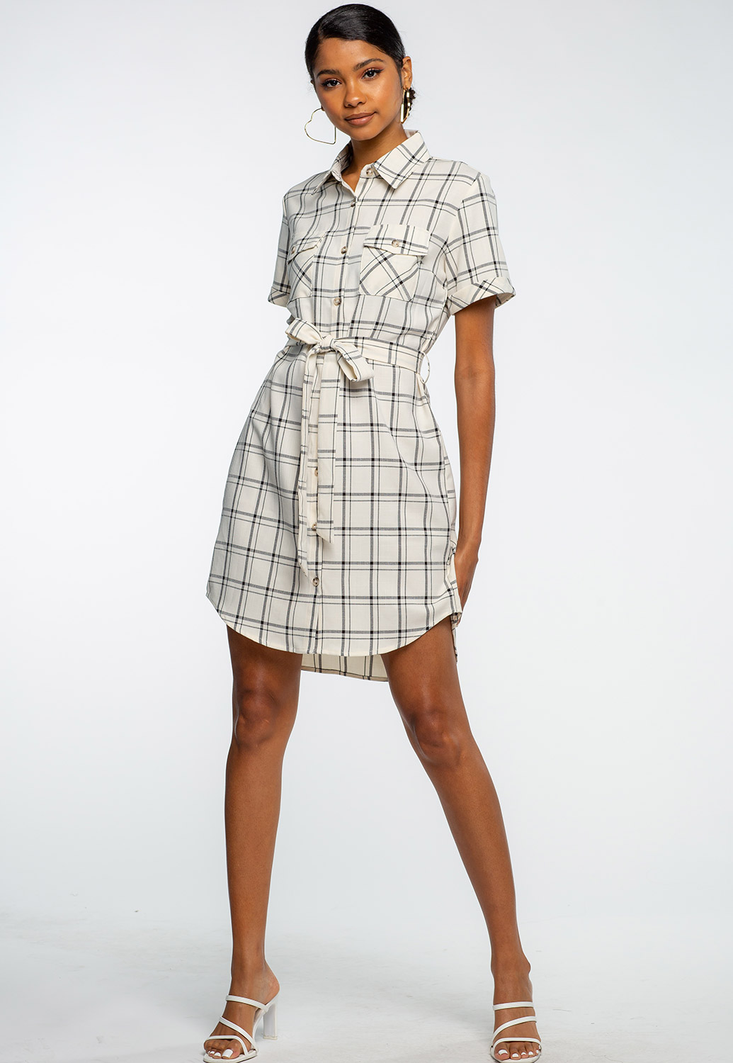 Plaid Printed Button Up Shirt Dress With Tie