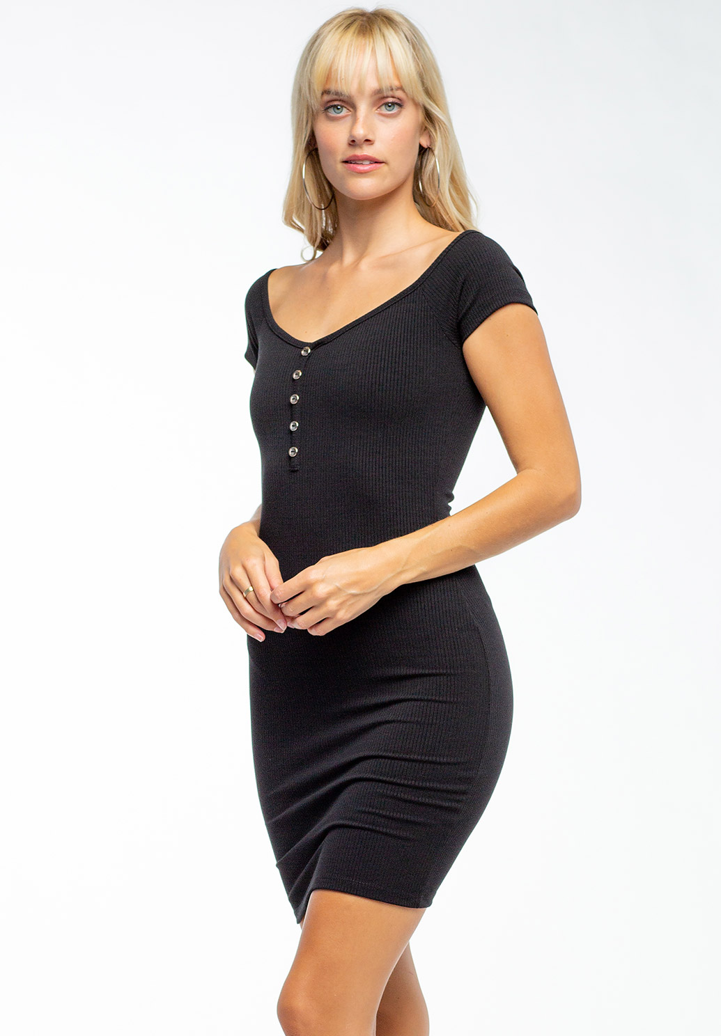 Wide V-Neck Bodycon Mini Dress With Buttons