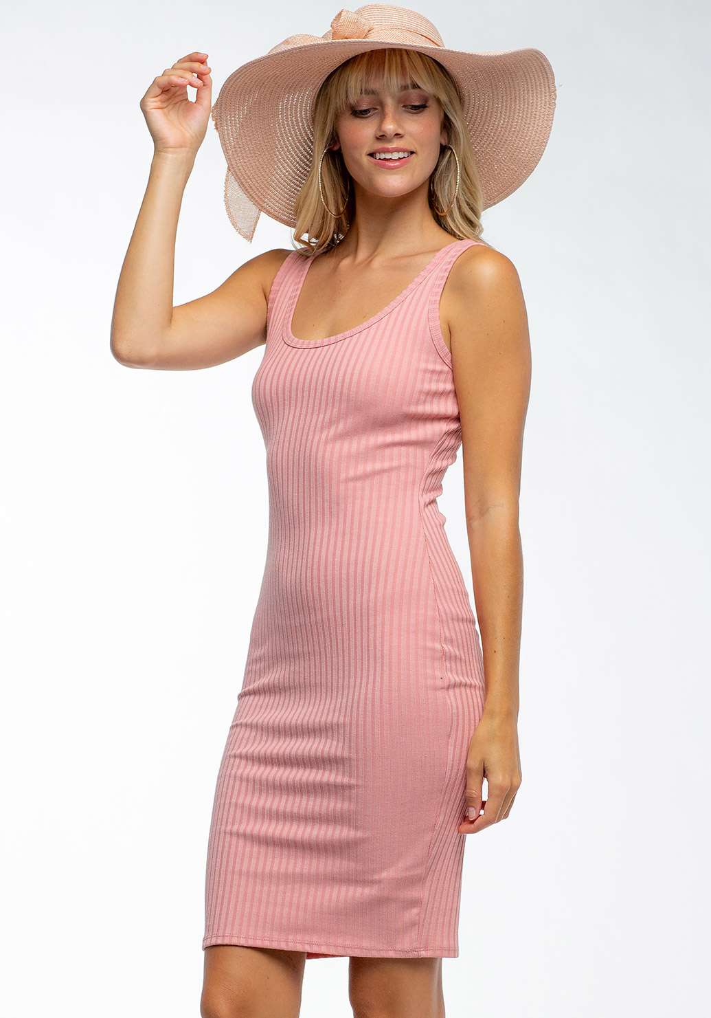 Deep Round Neck Ribbed Dress