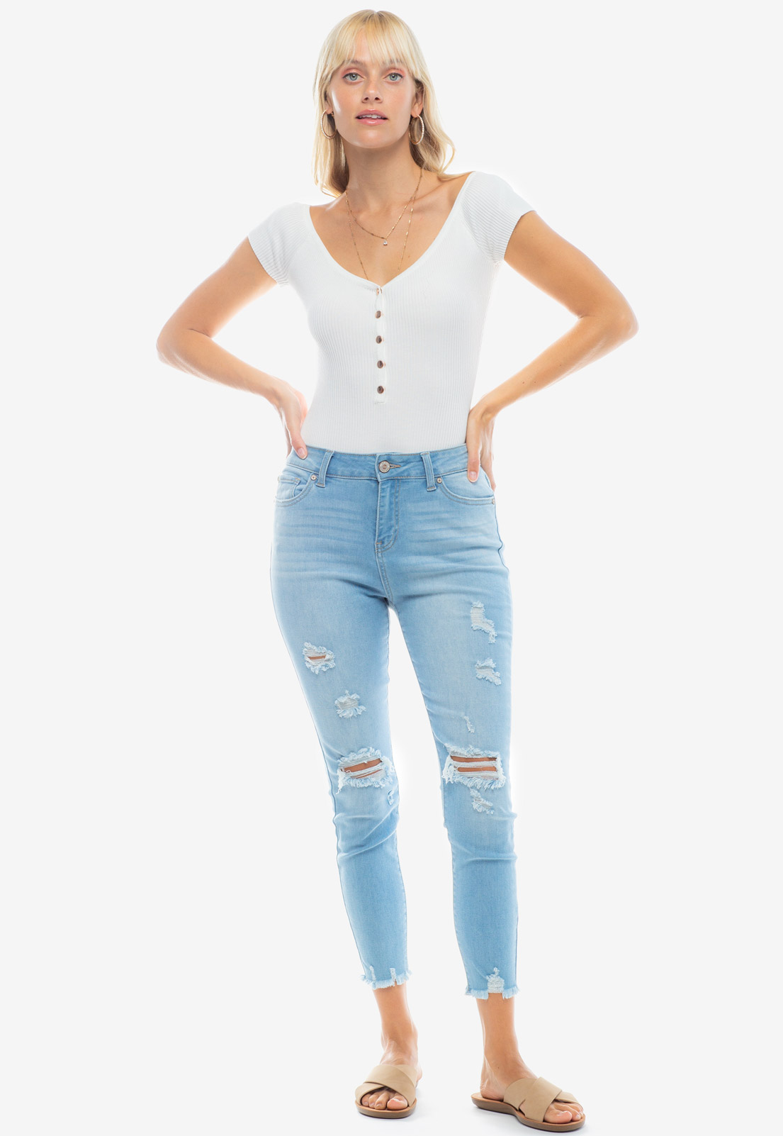 Wide V-Neck Button Detailed Bodysuit