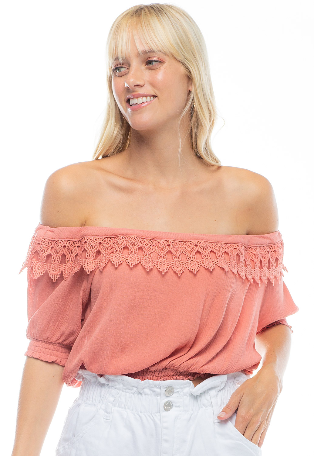 Off The Shoulder Laced Crop Top