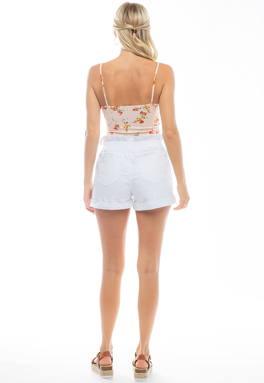 Front Drawstring Floral Printed Crop Top