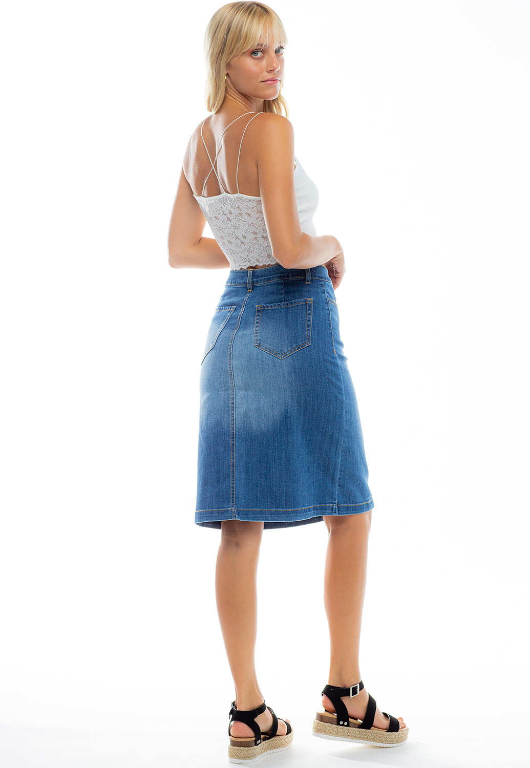 Button Up Denim Midi Skirt With Pockets