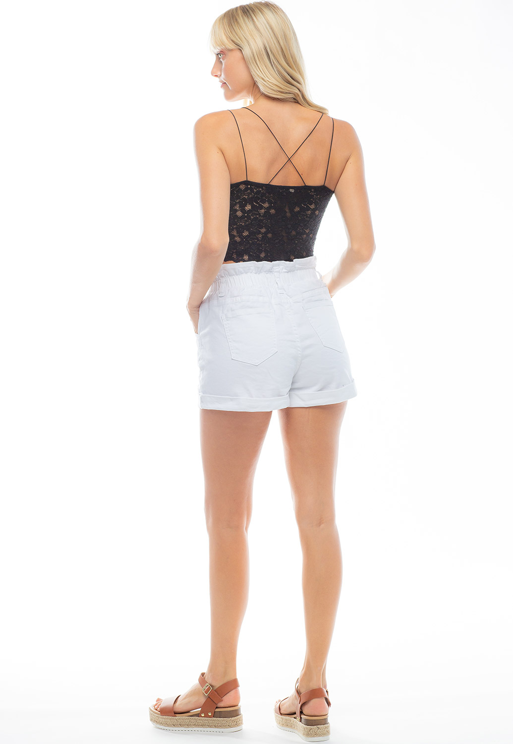 Double Strap Cropped Tank With Laced Back