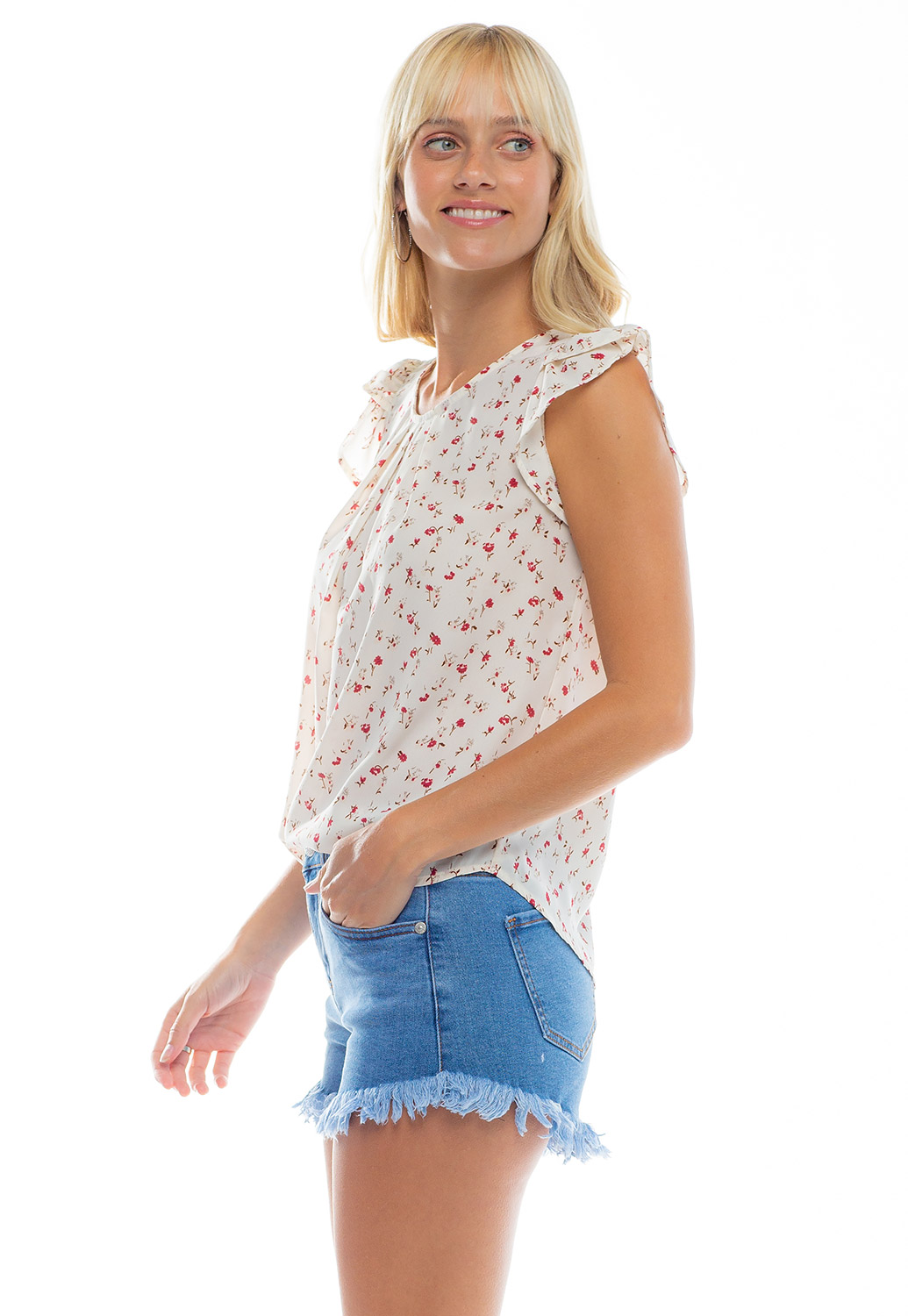 Double Knot Tie Back Detailed Floral Blouse
