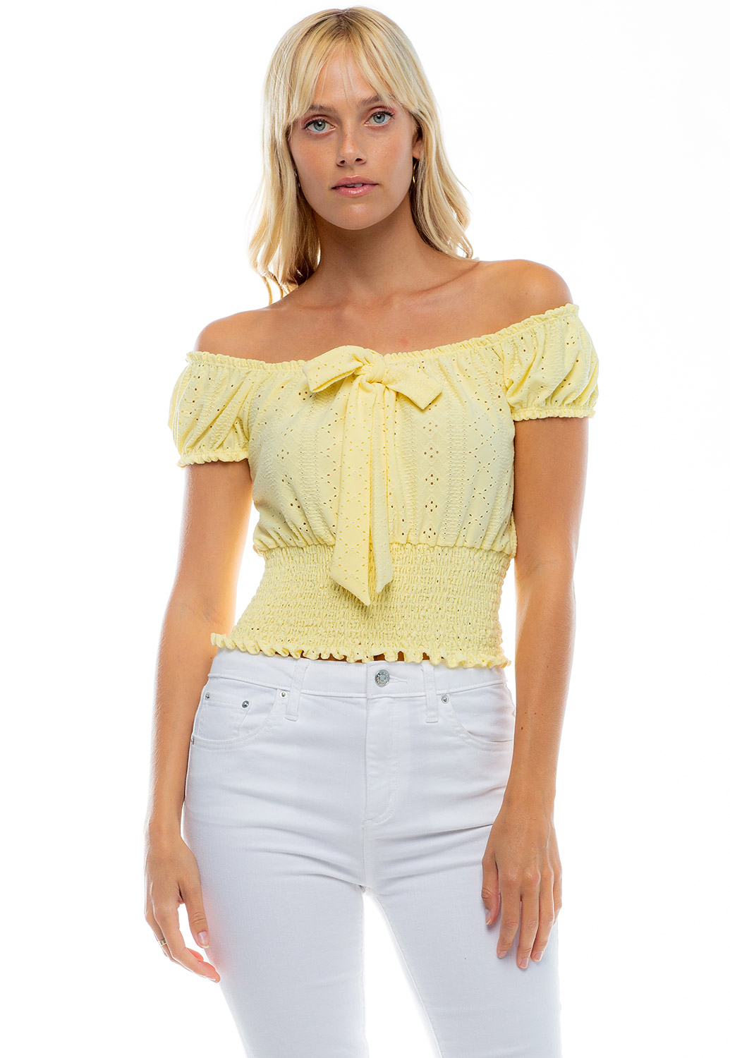 Off The Shoulder Front Tie Smocked Top