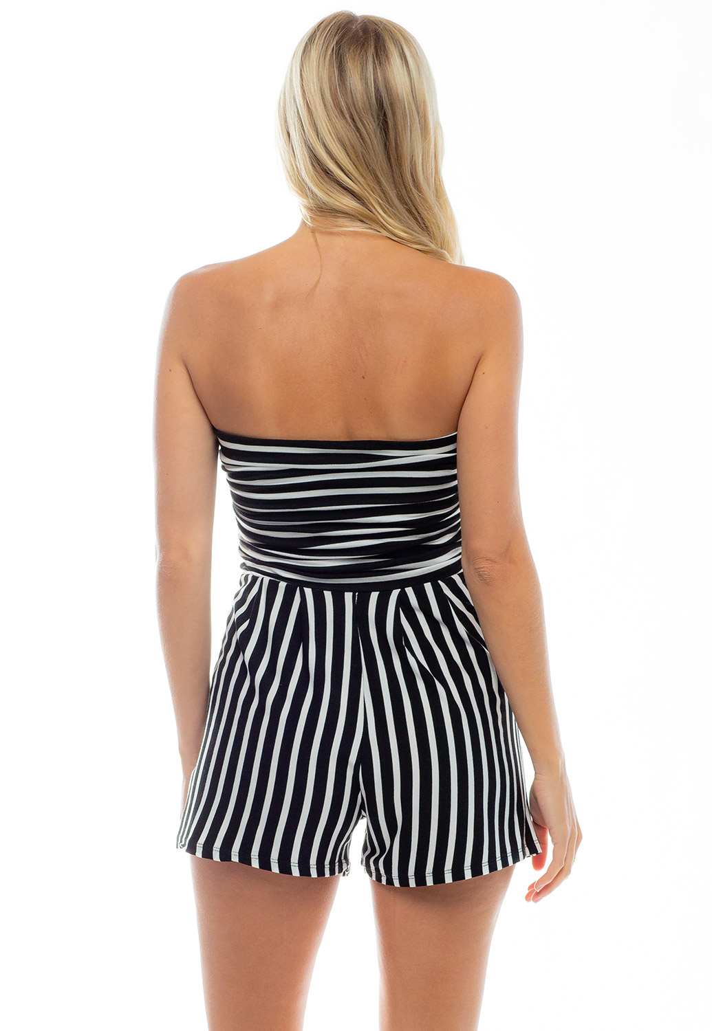 Off The Shoulder Pinstriped Romper