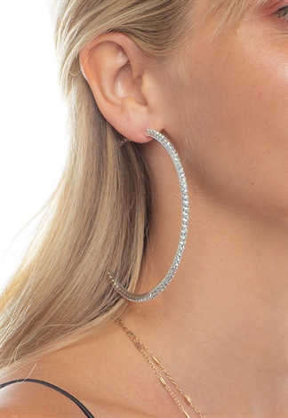 Rhinestone All Around Hoop Earrings