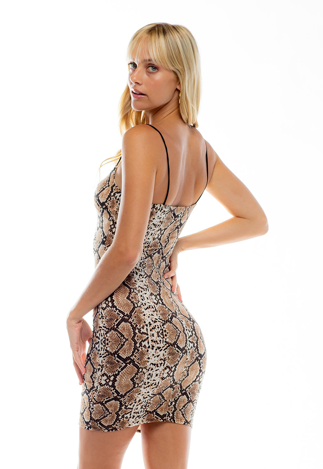 Spaghetti Strap Printed Bodycon Mini Dress