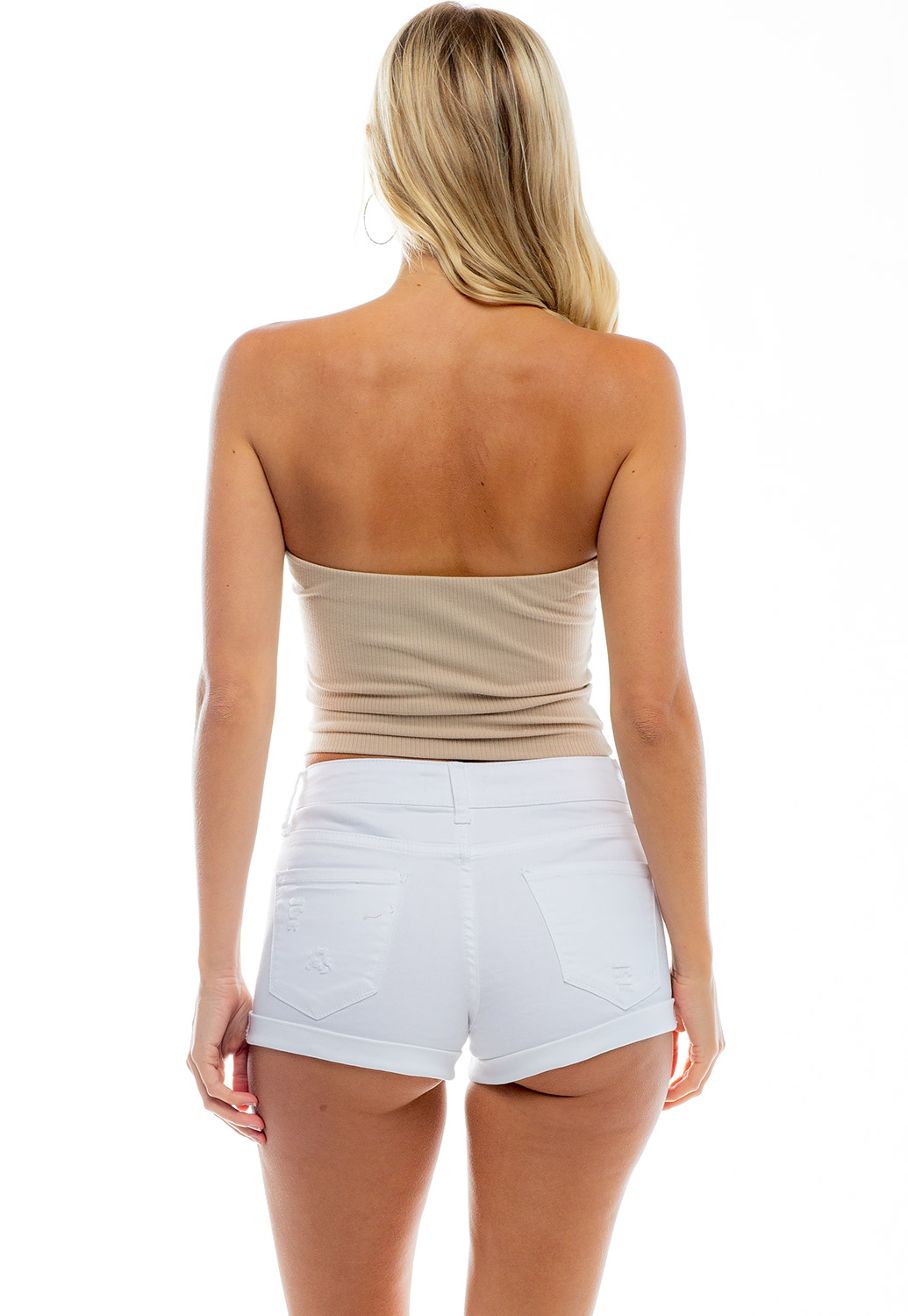 Basic Double Ruched  Ribbed Tube Top