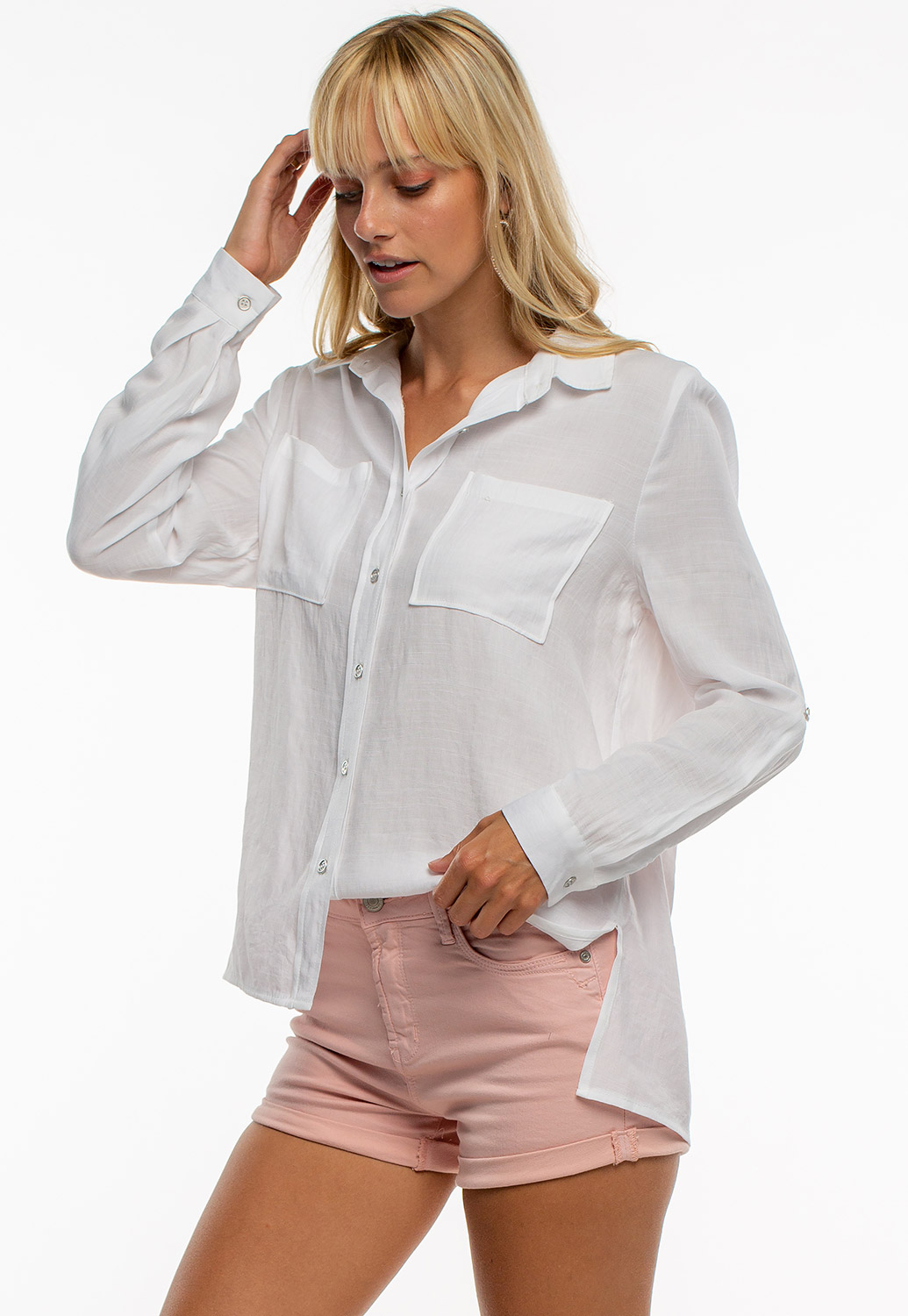 Oversized Button Up Shirt With Side Slit
