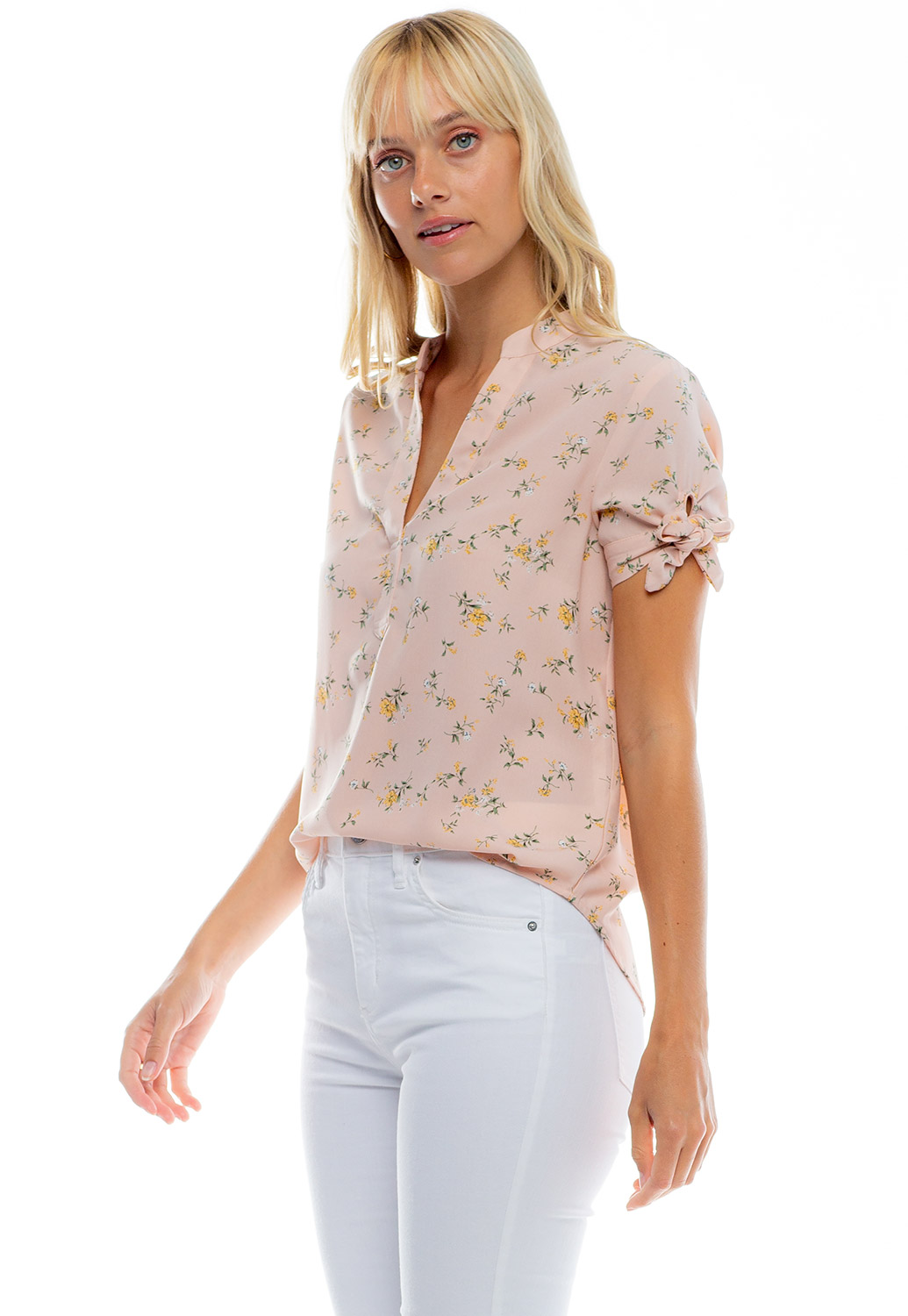 V-Neck Floral Blouse With Tie Sleeve Details