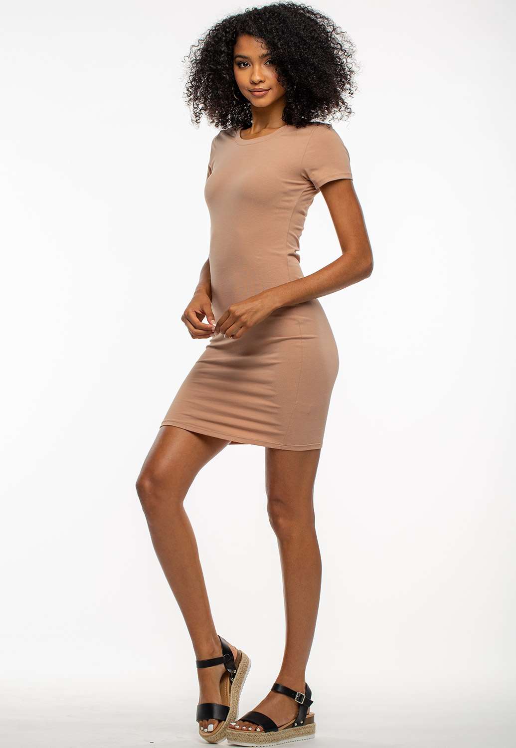Basic Round Neck Mini Dress
