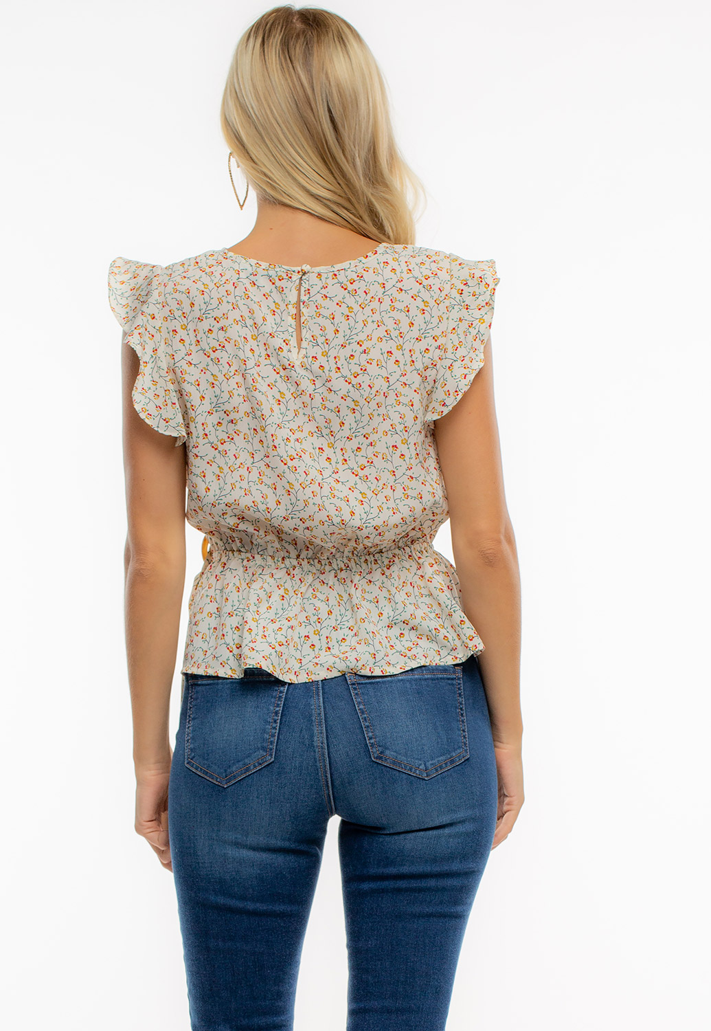 Summer Floral Wrap Blouse With Ruffle Sleeve