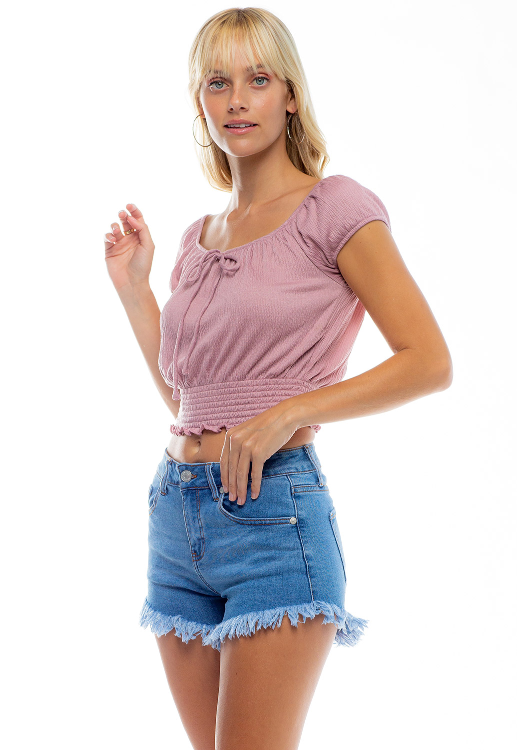 Wide Round Neck Front Tie Rouched Crop Top
