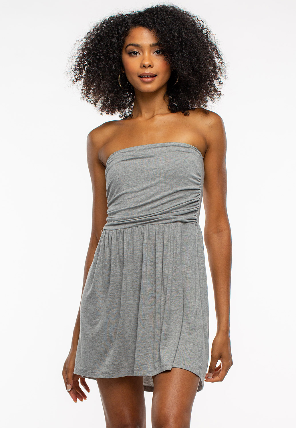 Summer Basic Sleeveless Mini Ruched Dress