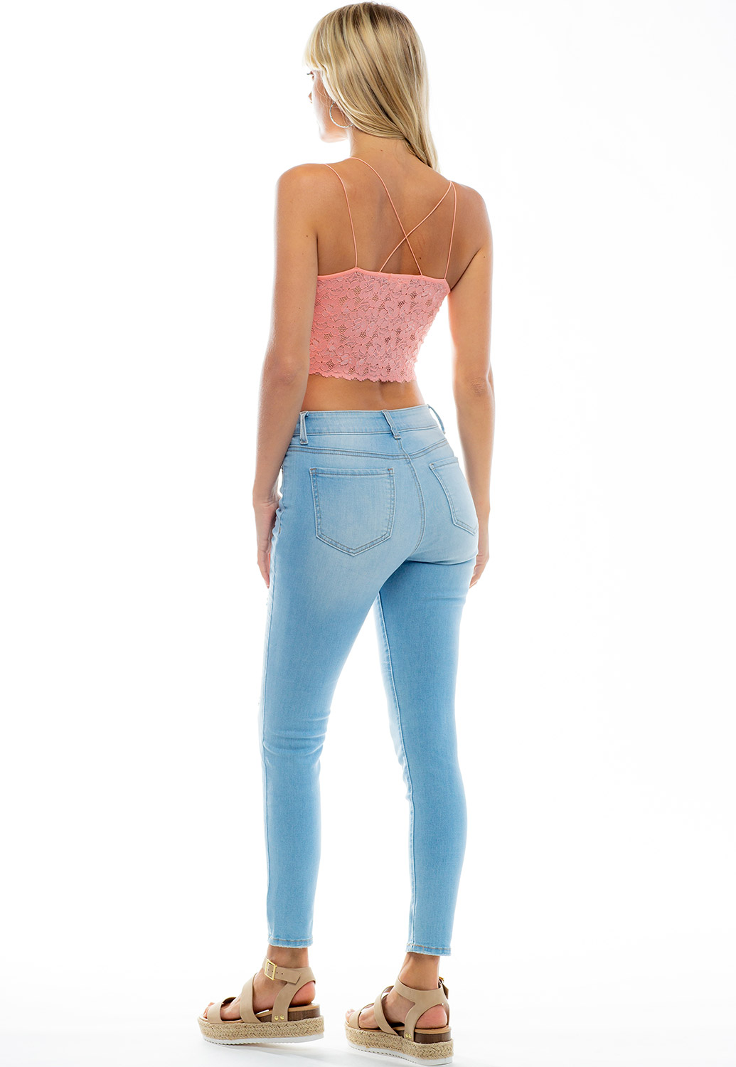 Mid Rise Skinny Distressed Denim Jeans