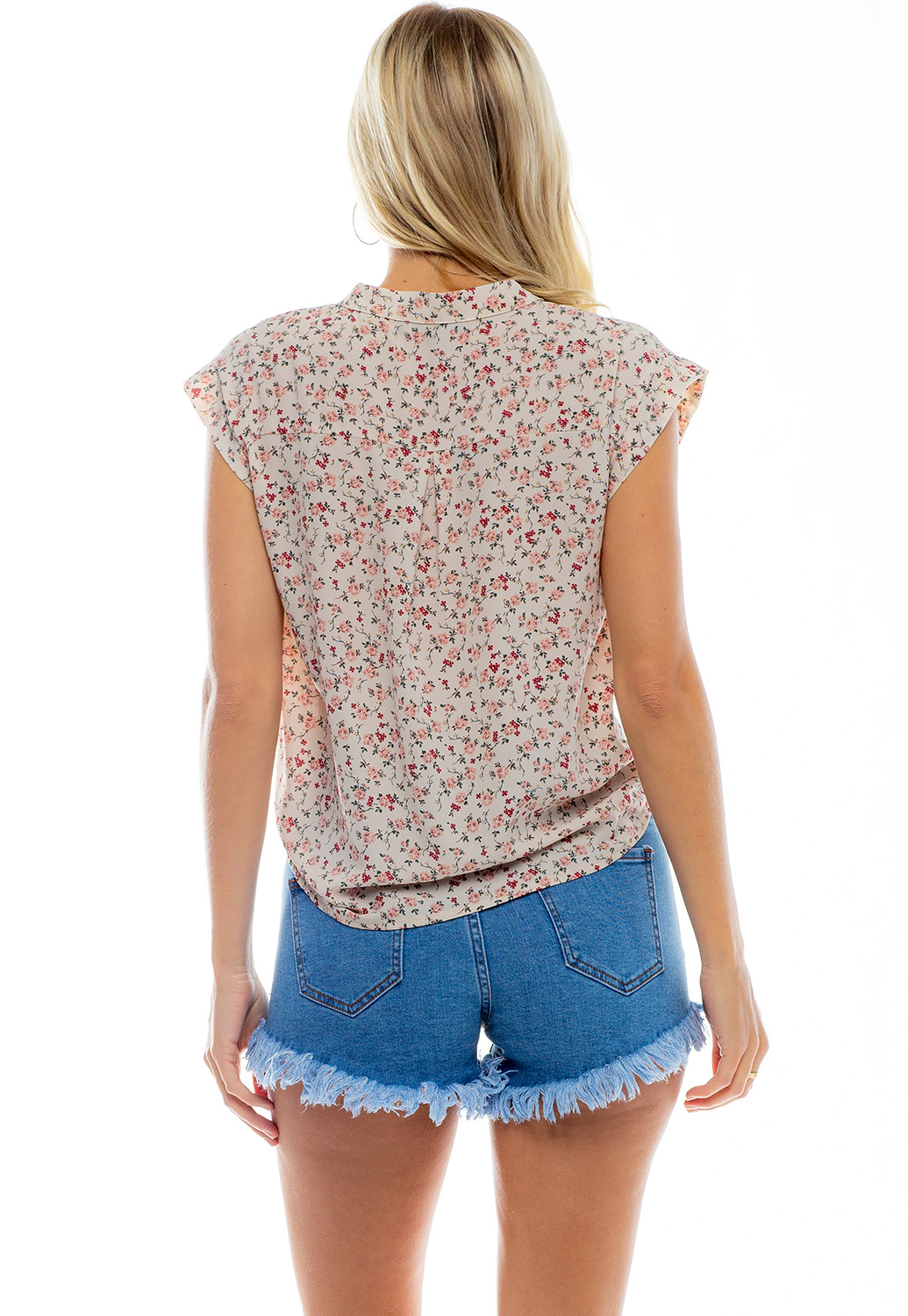 Front Tie Floral Short Sleeve Blouses
