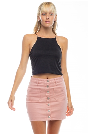 Basic High Neck Tank Crop Top