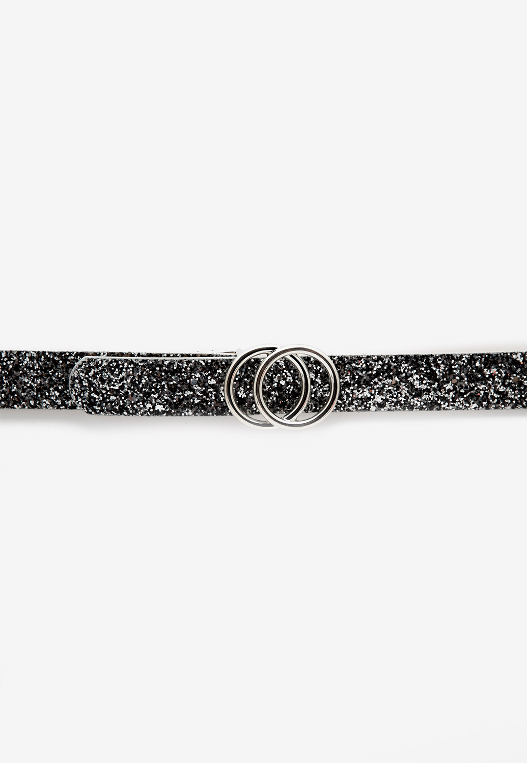 Double Circle Buckle Glitter Belts