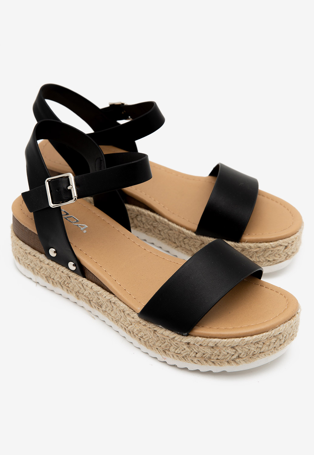 Double Strap Faux Leather Wedge Sandals
