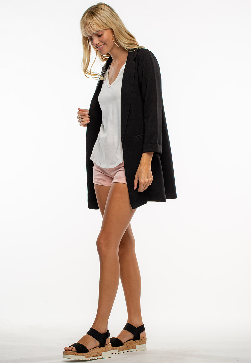 Classic Black Open Blazer With Pockets