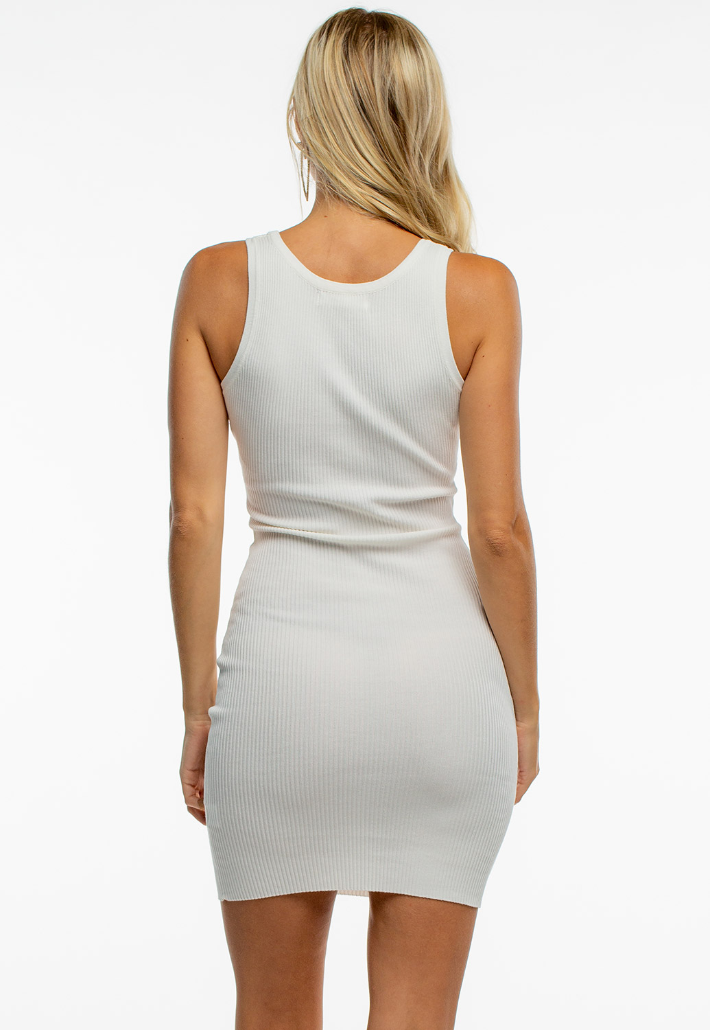 Round Neck Ribbed Bodycon Dress With Buttons