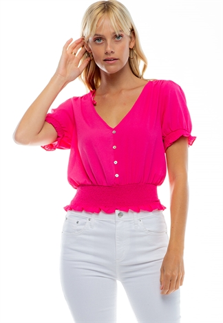Semi Puff V-Neck Smocked Blouse With Buttons
