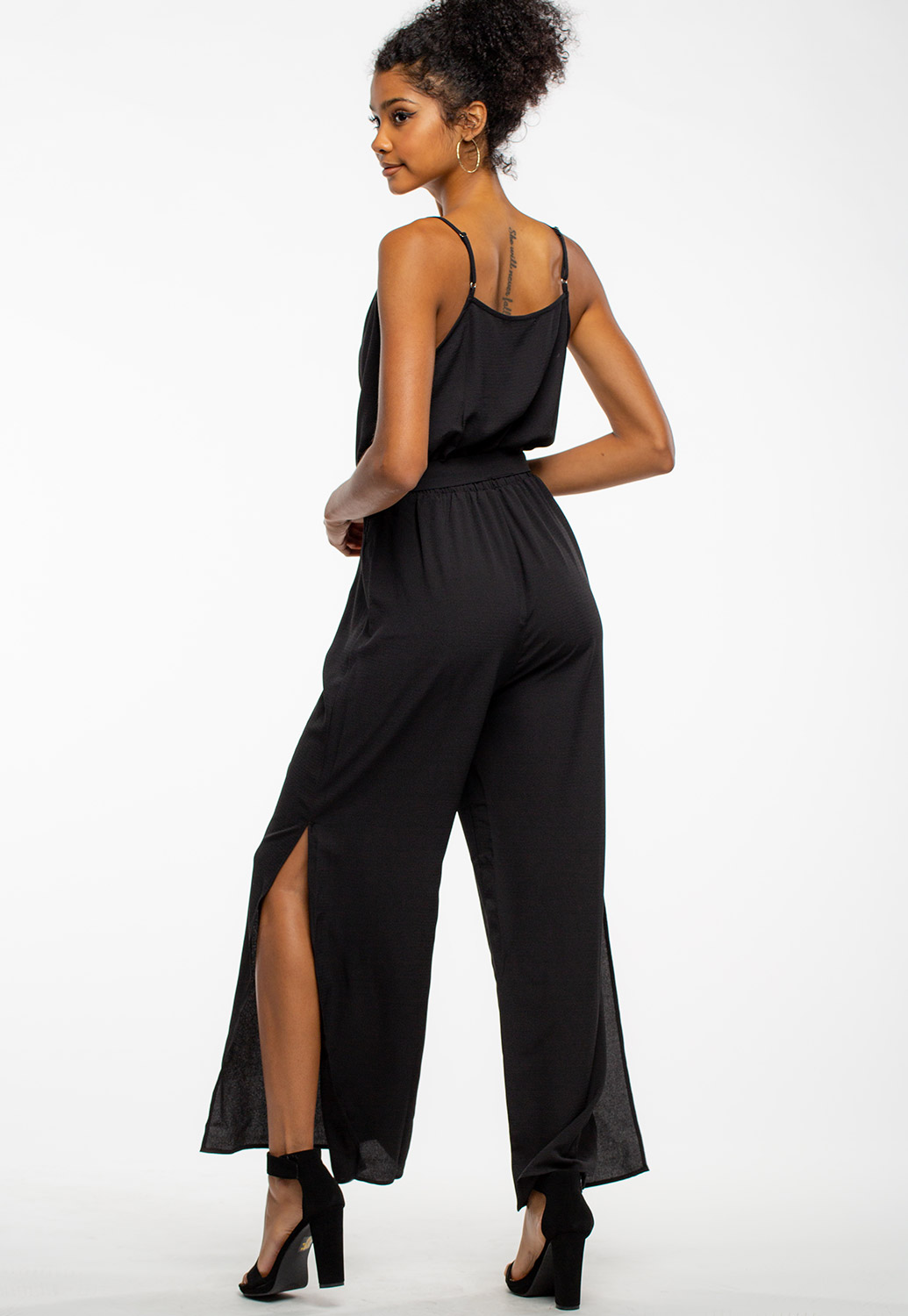Strappy Dressy Jumpsuit With Side Slit Details