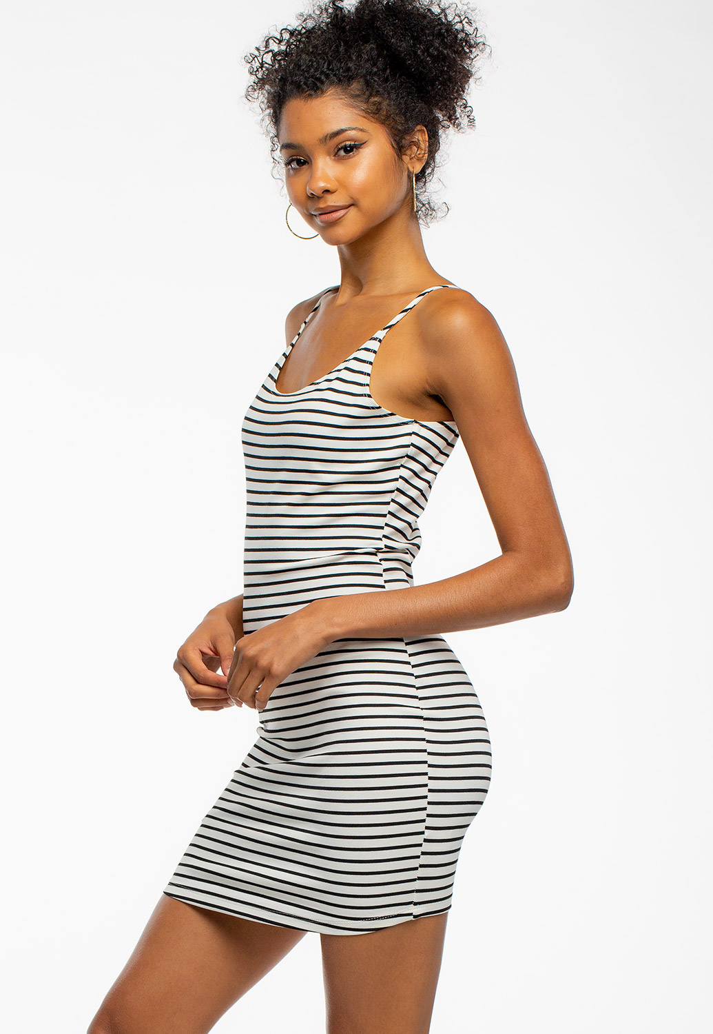 Summer Casual Round Neck Striped Mini Dress