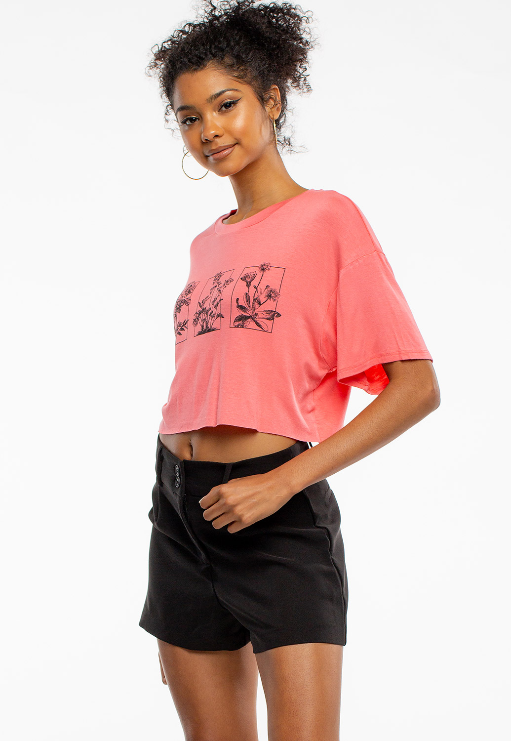 Flower Graphic Summer Crop Top