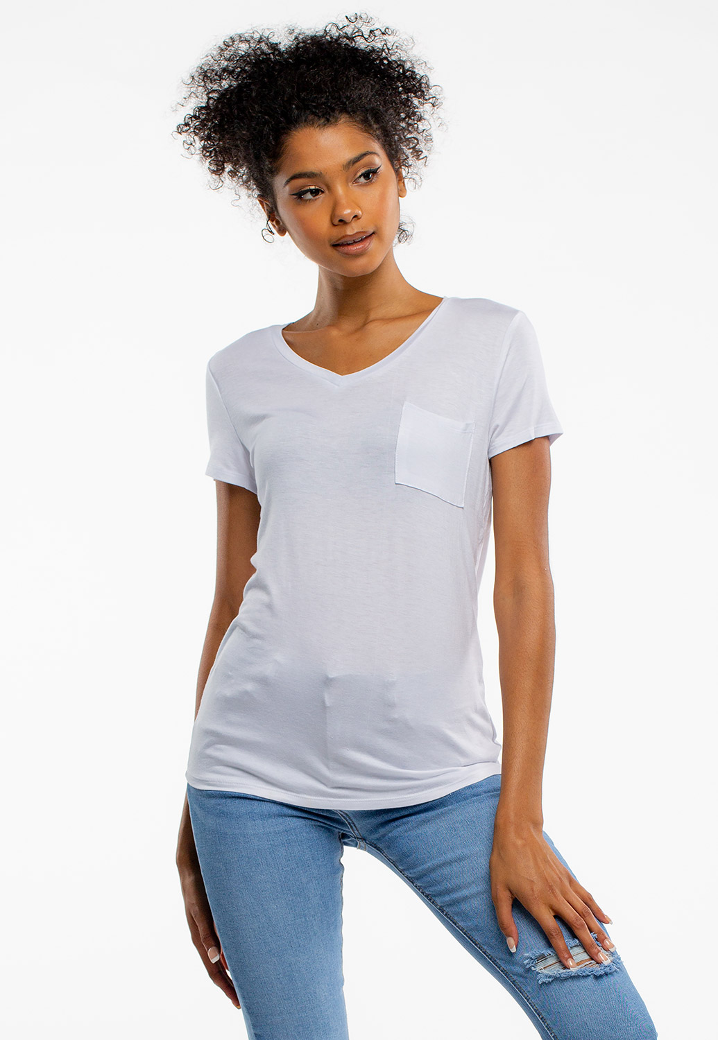 Basic V-Neck Short Sleeve Top With Pocket