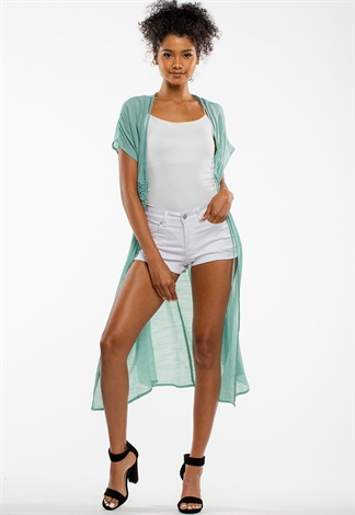 Short Sleeve Summer Sheer Cardigan With Tie