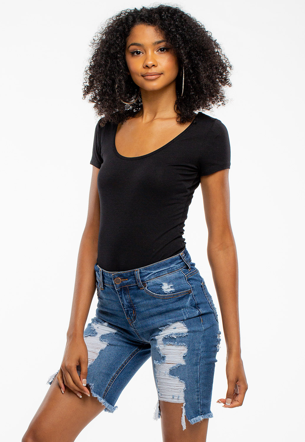 Round Neck Short Sleeve Basic Bodysuit