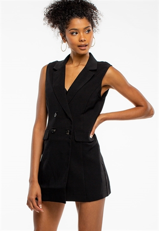 Dressy Double Breasted Vest Dress