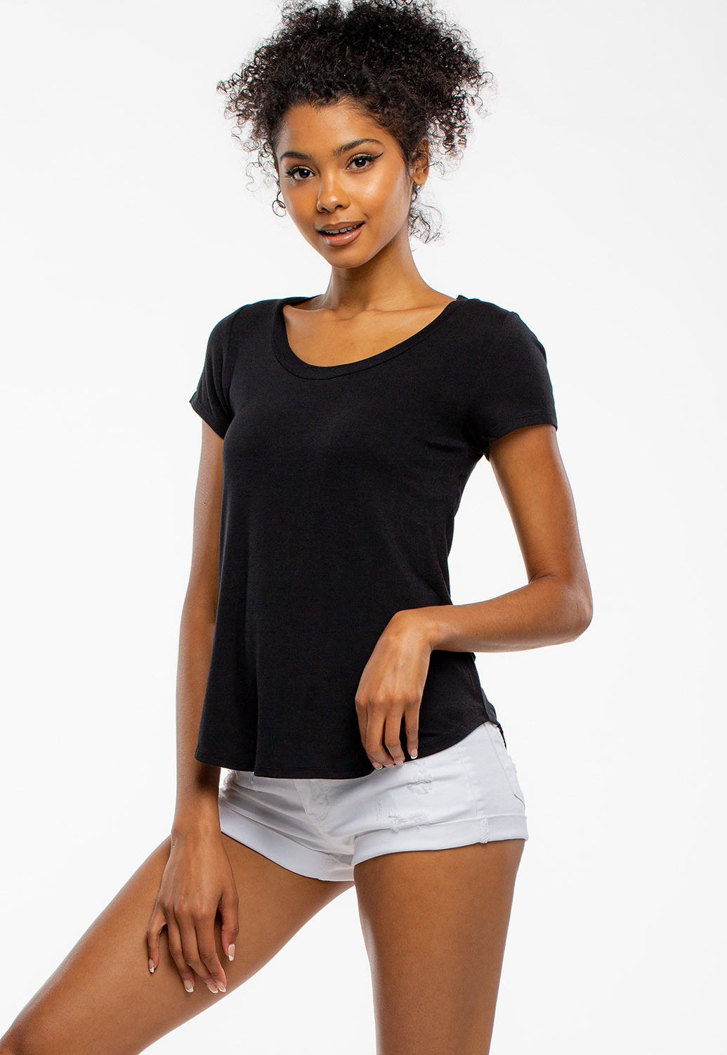 Round Neck Basic Short Sleeve Top