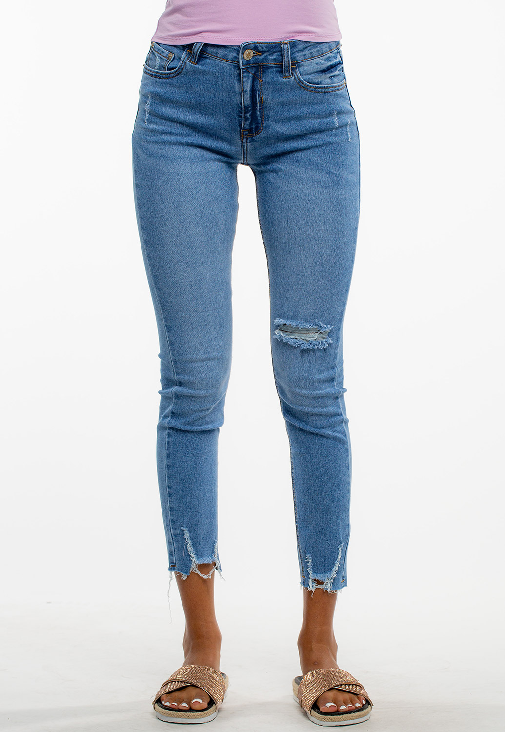 Mid-Rise Distressed Denim Jeans
