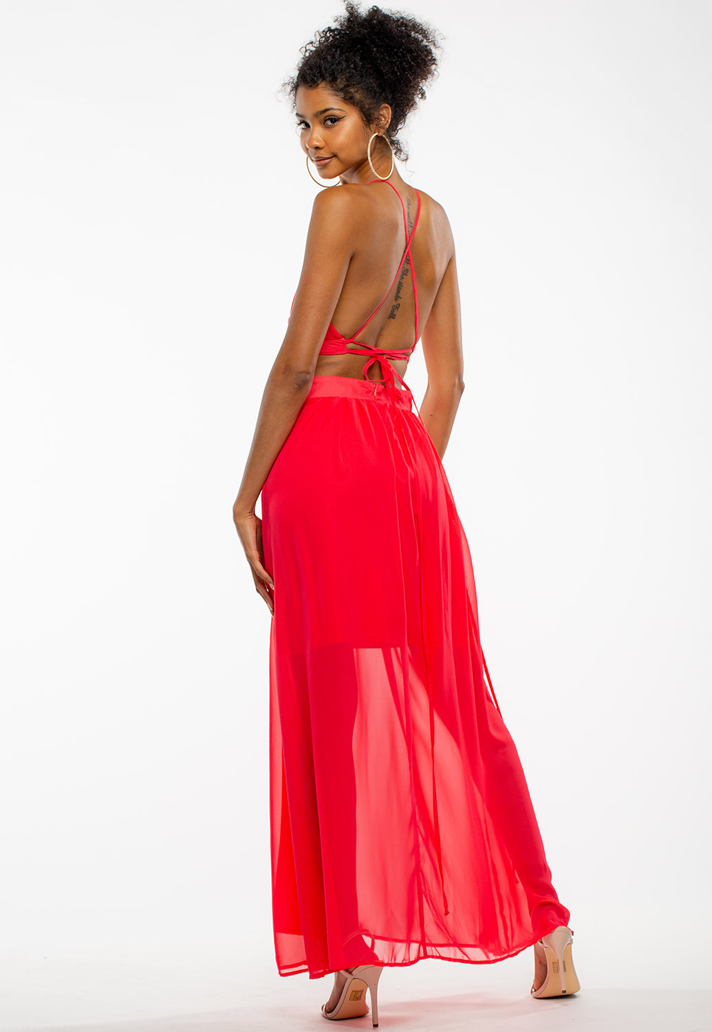 Summer Strappy Maxi Sheer Cross Back Dress