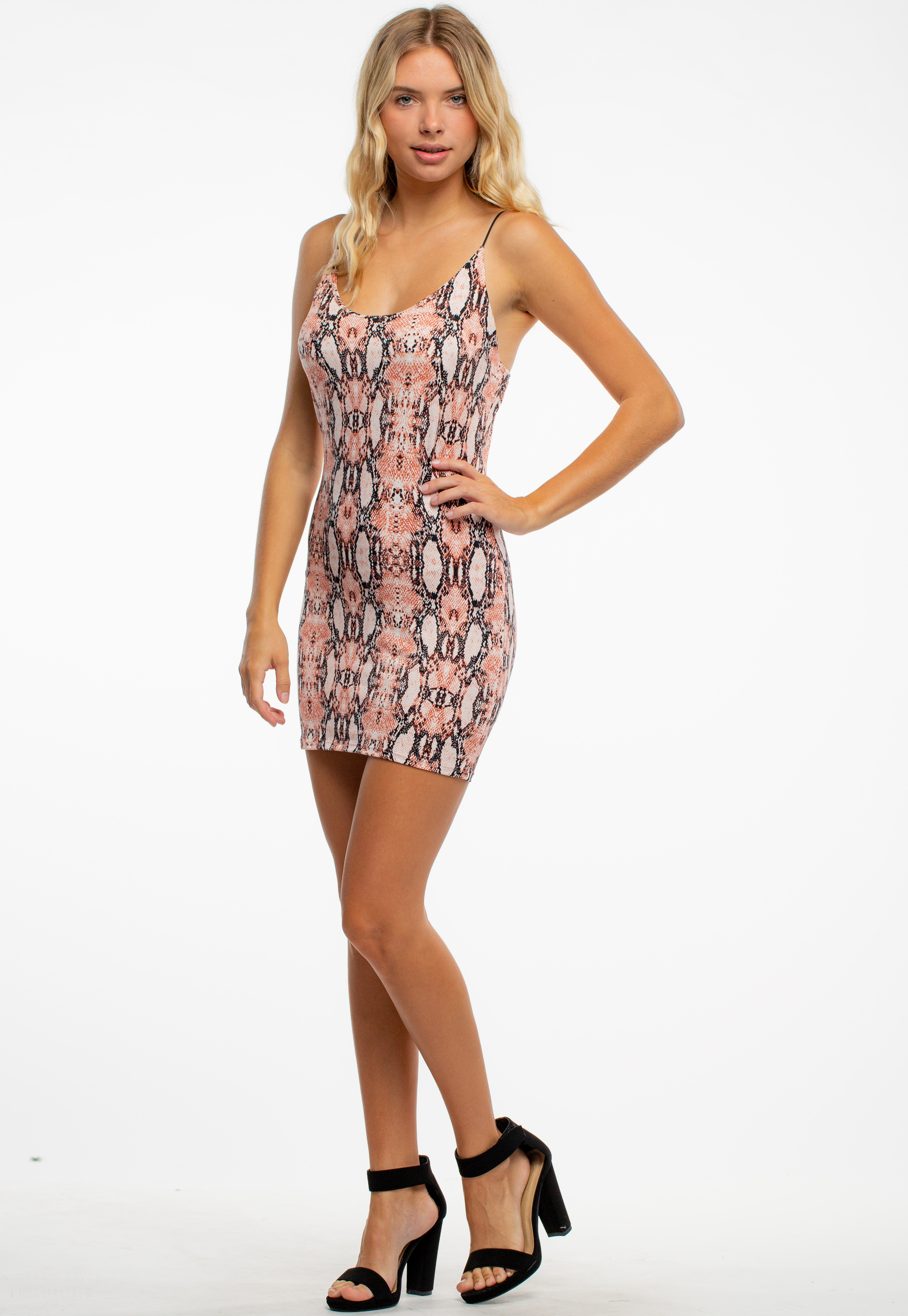 Printed Strap Bodycon Mini Dress