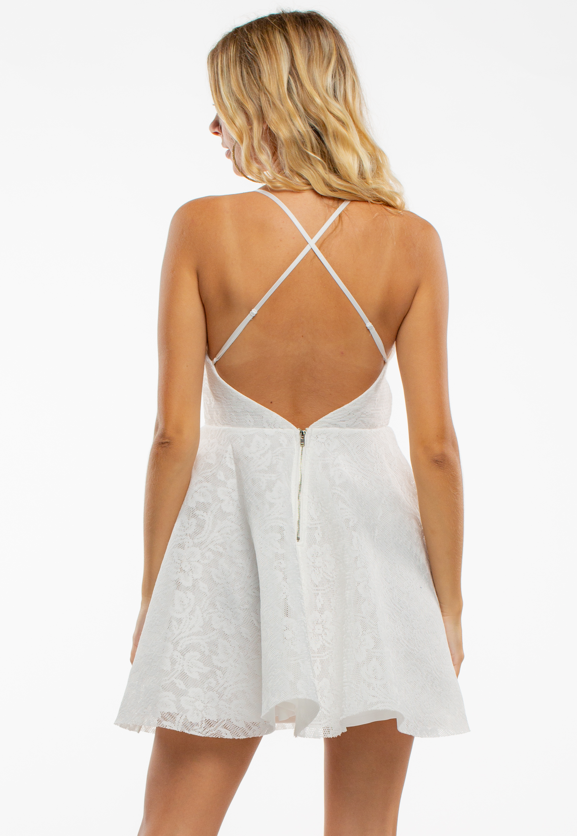Floral Lace Flare Mini Dress With Cross Back